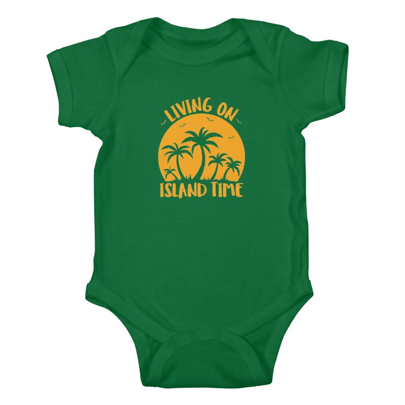 Living On Island Time Palm Trees And Sunset Kids Baby Bodysuit by Fizzgig's Artist Shop