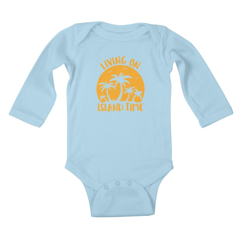 Living On Island Time Palm Trees And Sunset Kids Baby Longsleeve Bodysuit by Fizzgig's Artist Shop