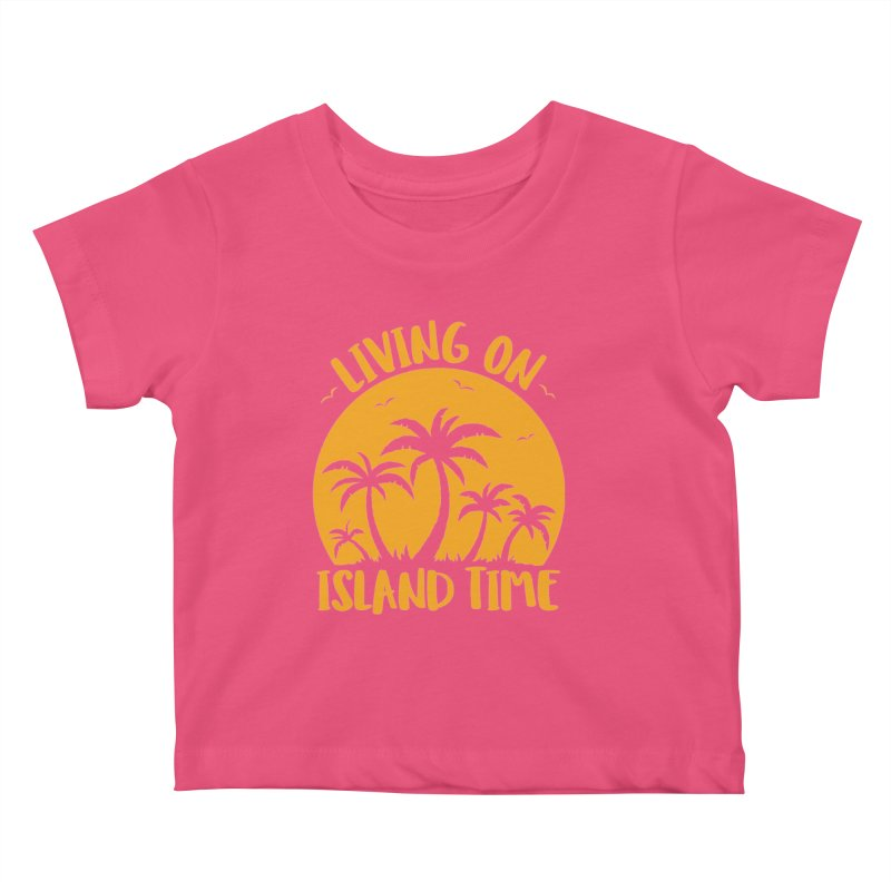 Living On Island Time Palm Trees And Sunset Kids Baby T-Shirt by Fizzgig's Artist Shop