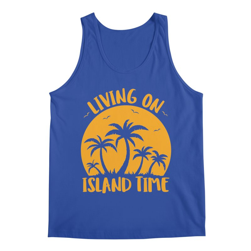 Living On Island Time Palm Trees And Sunset Men's Regular Tank by Fizzgig's Artist Shop