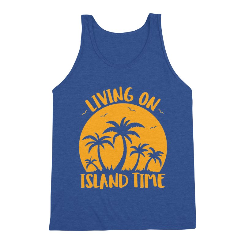 Living On Island Time Palm Trees And Sunset Men's Tank by Fizzgig's Artist Shop