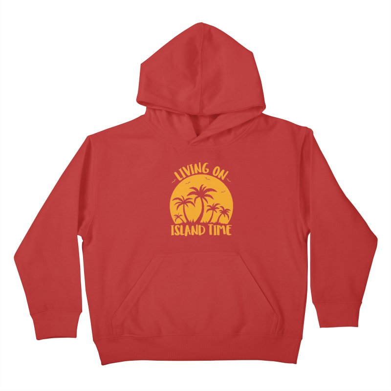 Living On Island Time Palm Trees And Sunset Kids Pullover Hoody by Fizzgig's Artist Shop