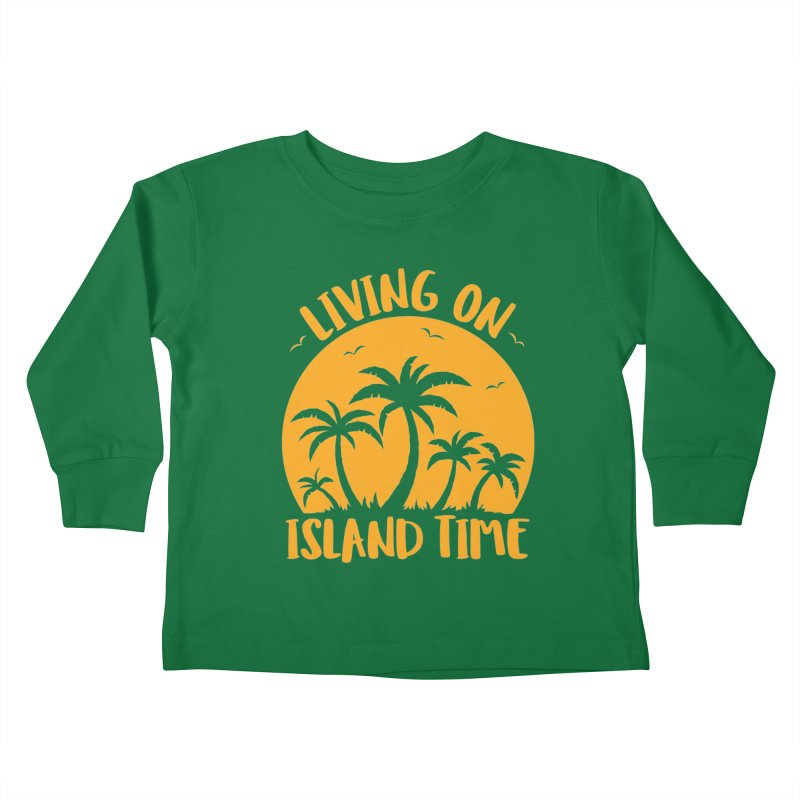 Living On Island Time Palm Trees And Sunset Kids Toddler Longsleeve T-Shirt by Fizzgig's Artist Shop