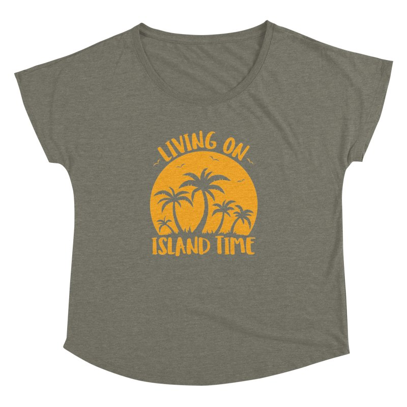Living On Island Time Palm Trees And Sunset Women's Dolman Scoop Neck by Fizzgig's Artist Shop
