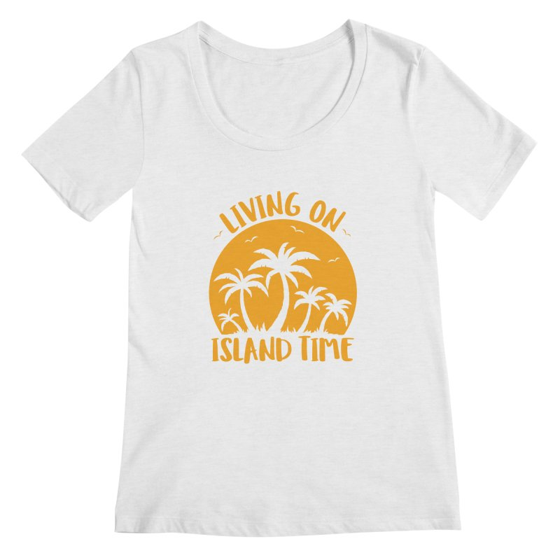 Living On Island Time Palm Trees And Sunset Women's Scoop Neck by Fizzgig's Artist Shop