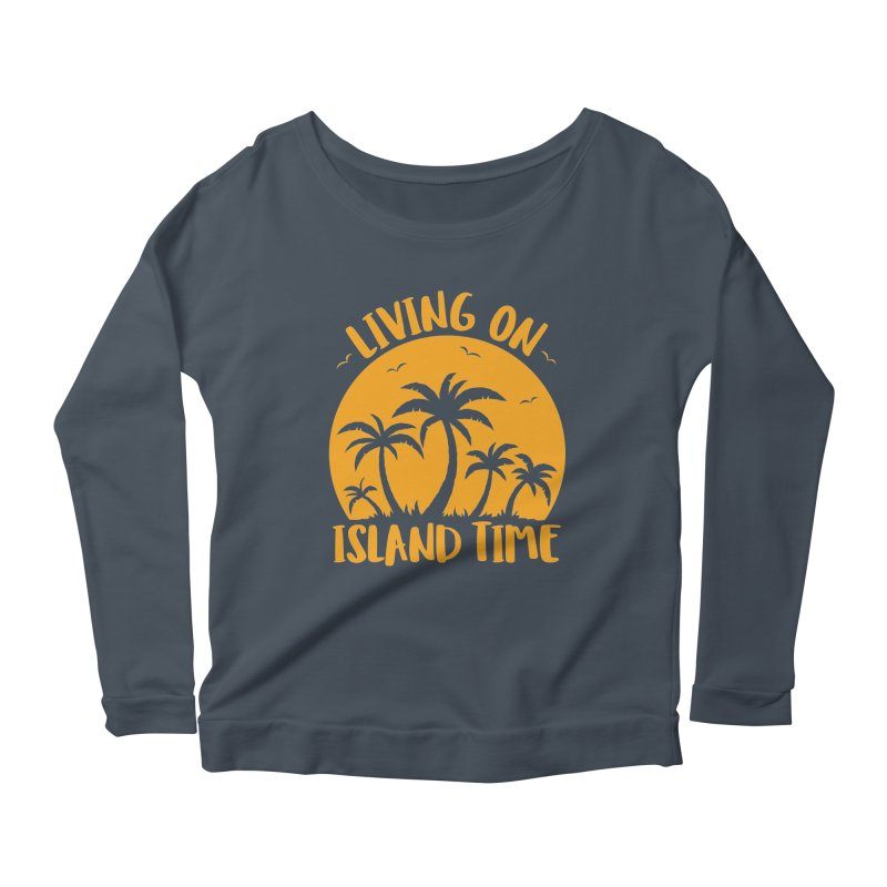Living On Island Time Palm Trees And Sunset Women's Scoop Neck Longsleeve T-Shirt by Fizzgig's Artist Shop