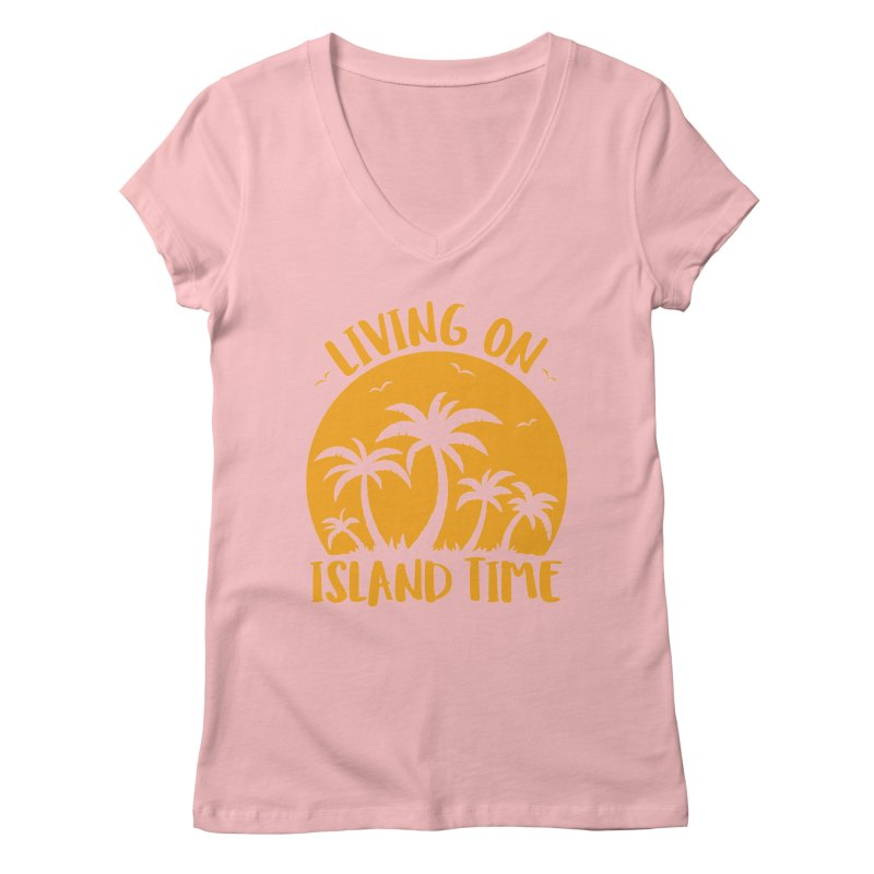 Living On Island Time Palm Trees And Sunset Women's Regular V-Neck by Fizzgig's Artist Shop