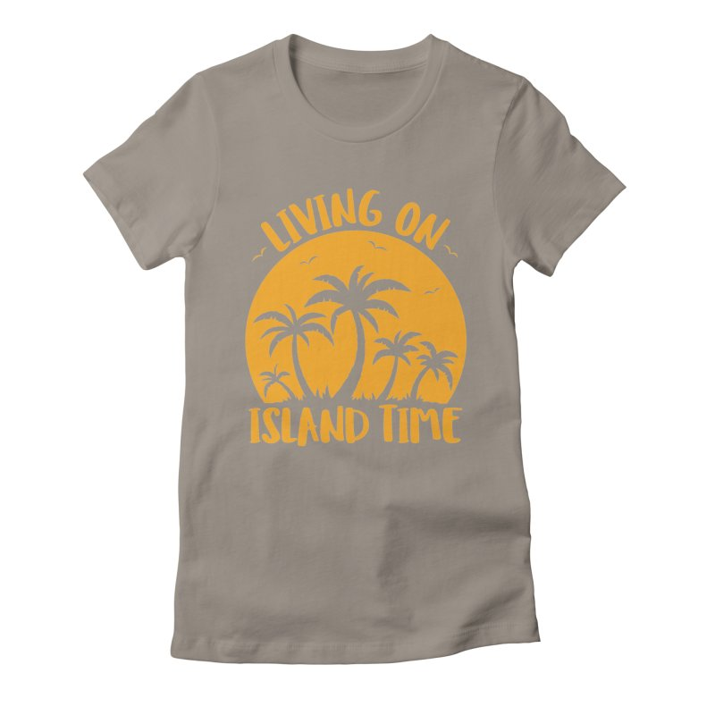 Living On Island Time Palm Trees And Sunset Women's Fitted T-Shirt by Fizzgig's Artist Shop