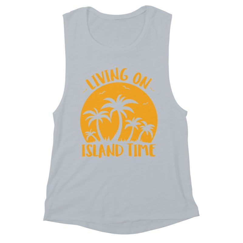 Living On Island Time Palm Trees And Sunset Women's Muscle Tank by Fizzgig's Artist Shop