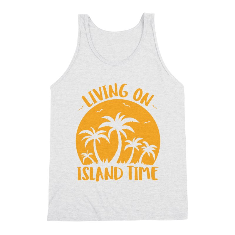Living On Island Time Palm Trees And Sunset Men's Triblend Tank by Fizzgig's Artist Shop