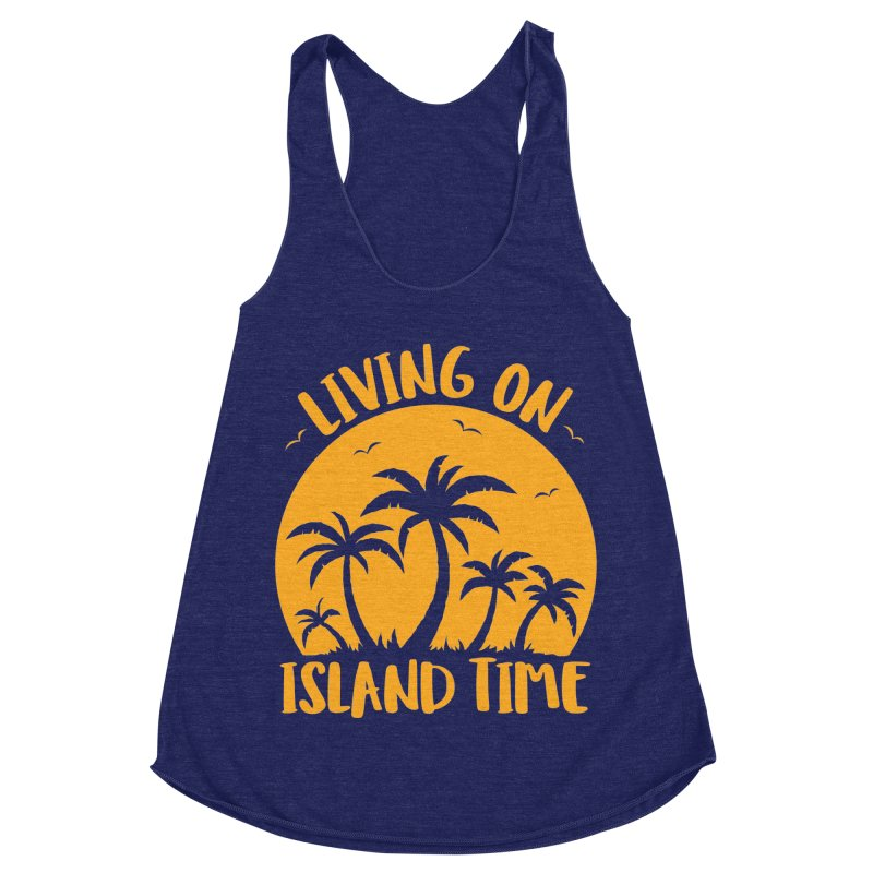 Living On Island Time Palm Trees And Sunset Women's Racerback Triblend Tank by Fizzgig's Artist Shop
