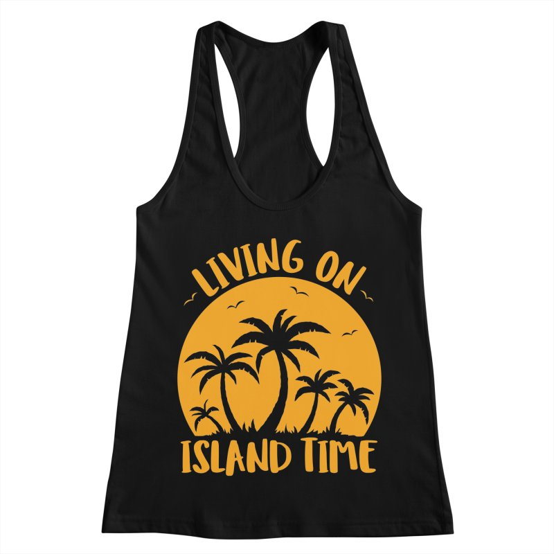 Living On Island Time Palm Trees And Sunset Women's Racerback Tank by Fizzgig's Artist Shop