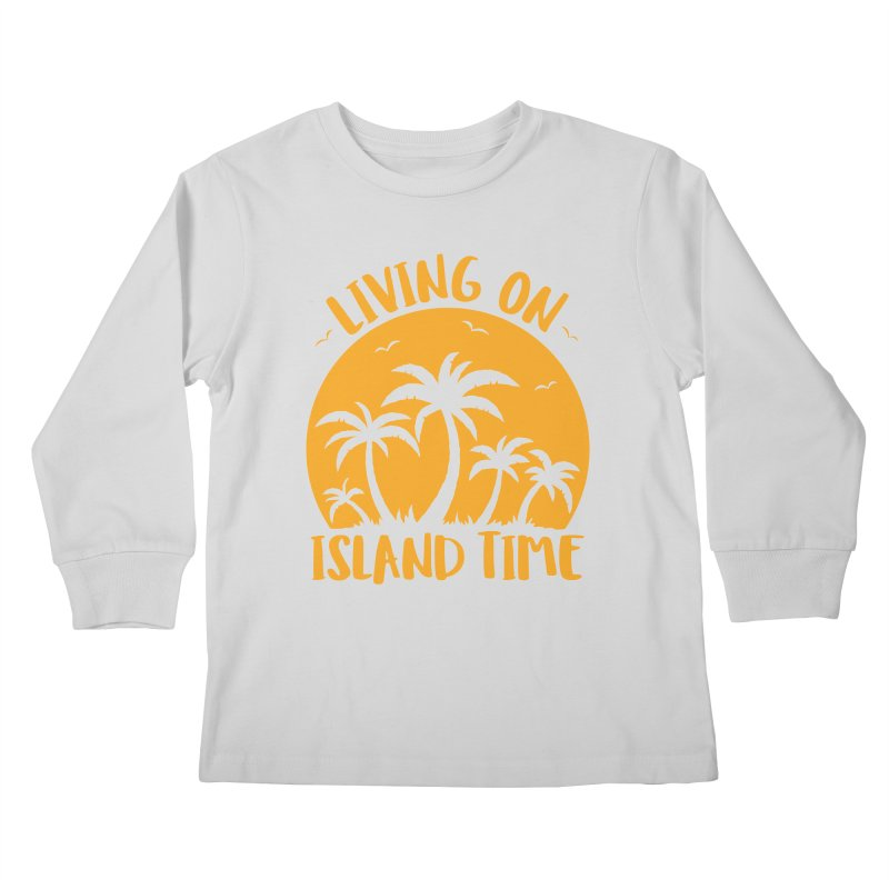 Living On Island Time Palm Trees And Sunset Kids Longsleeve T-Shirt by Fizzgig's Artist Shop
