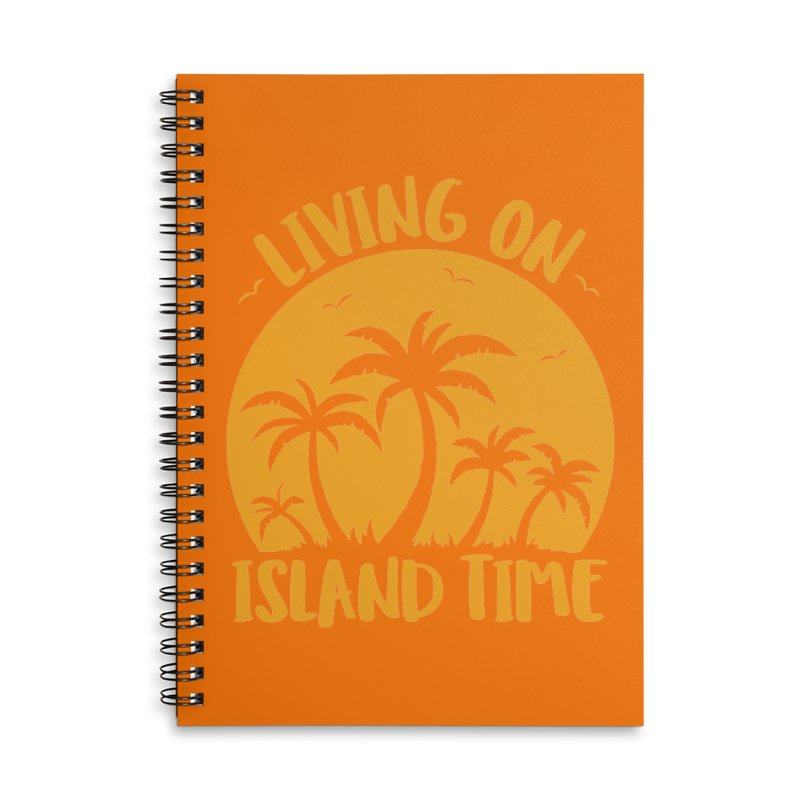 Living On Island Time Palm Trees And Sunset Accessories Lined Spiral Notebook by Fizzgig's Artist Shop