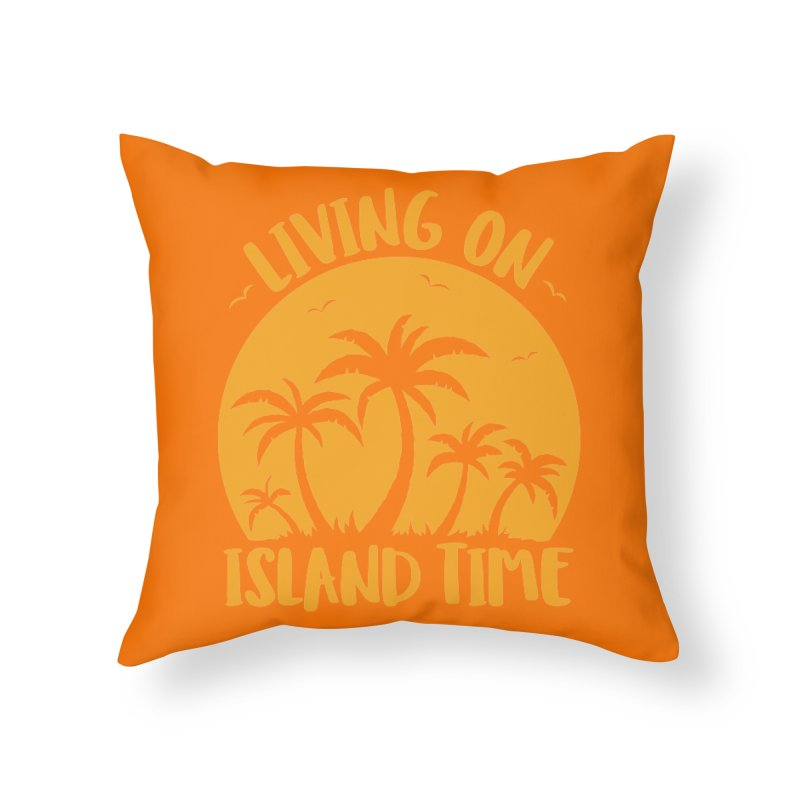 Living On Island Time Palm Trees And Sunset Home Throw Pillow by Fizzgig's Artist Shop