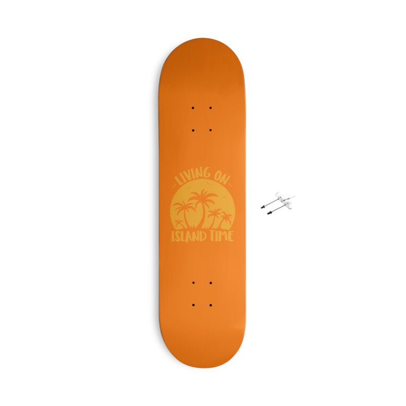Living On Island Time Palm Trees And Sunset Accessories With Hanging Hardware Skateboard by Fizzgig's Artist Shop