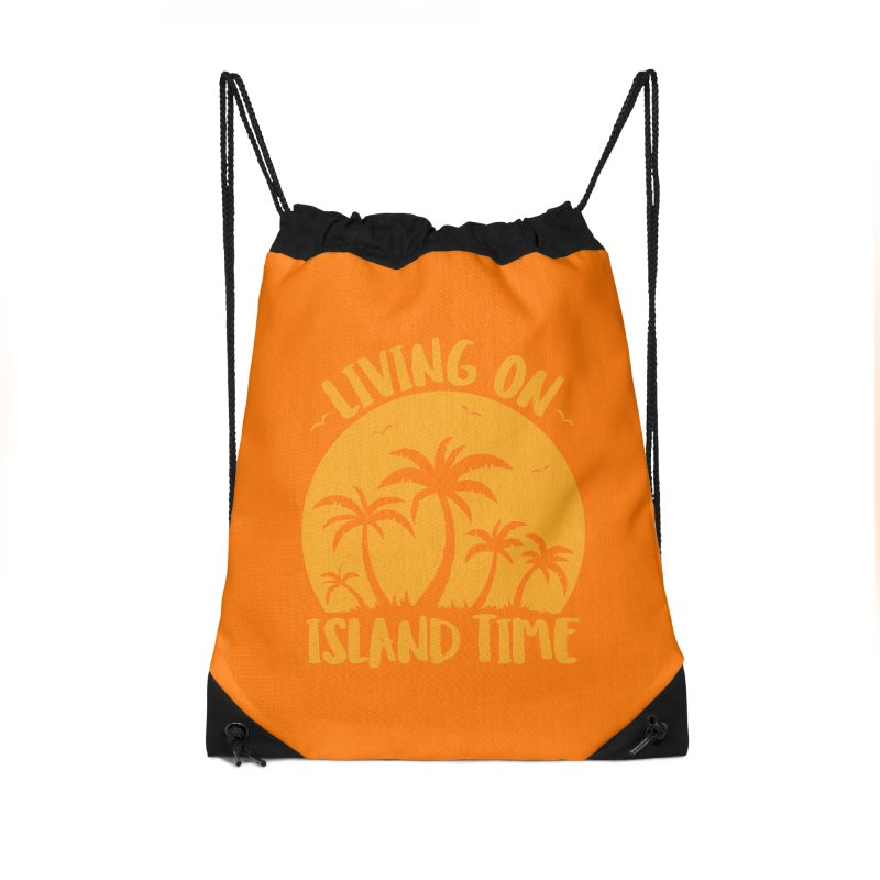 Living On Island Time Palm Trees And Sunset Accessories Drawstring Bag Bag by Fizzgig's Artist Shop