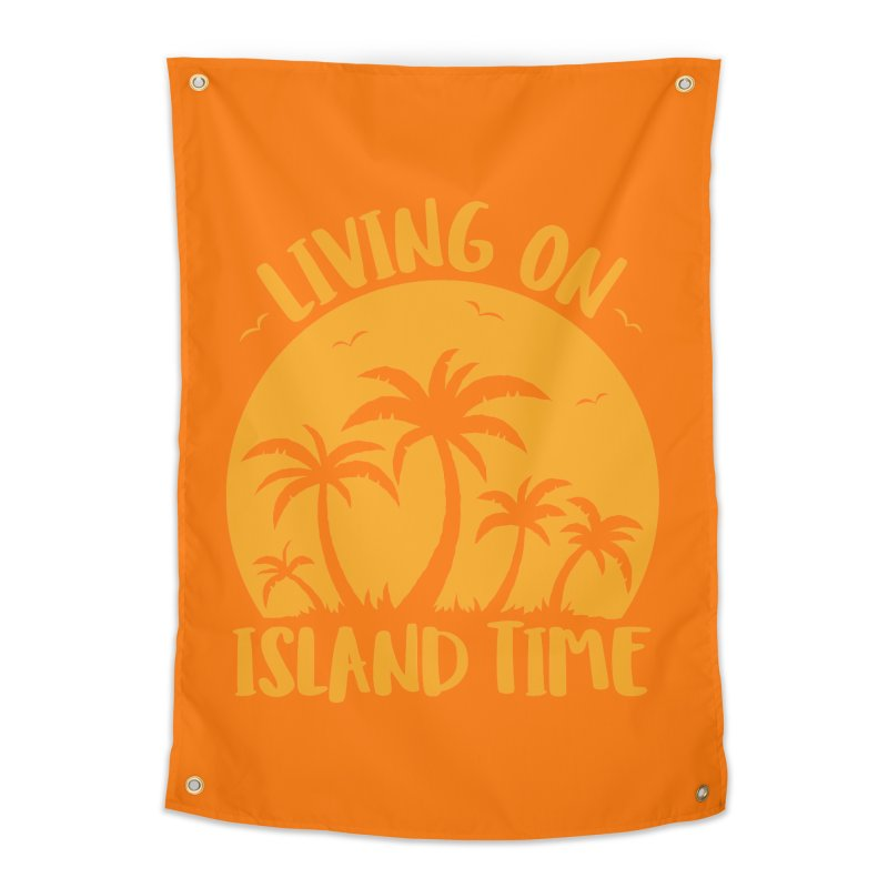 Living On Island Time Palm Trees And Sunset Home Tapestry by Fizzgig's Artist Shop