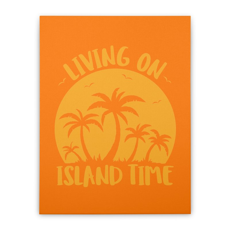 Living On Island Time Palm Trees And Sunset Home Stretched Canvas by Fizzgig's Artist Shop