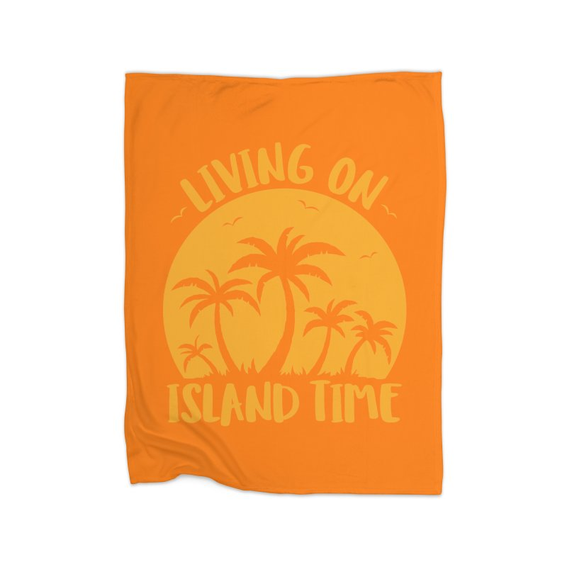 Living On Island Time Palm Trees And Sunset Home Fleece Blanket Blanket by Fizzgig's Artist Shop