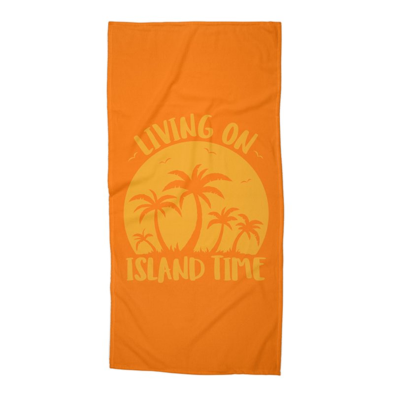 Living On Island Time Palm Trees And Sunset Accessories Beach Towel by Fizzgig's Artist Shop