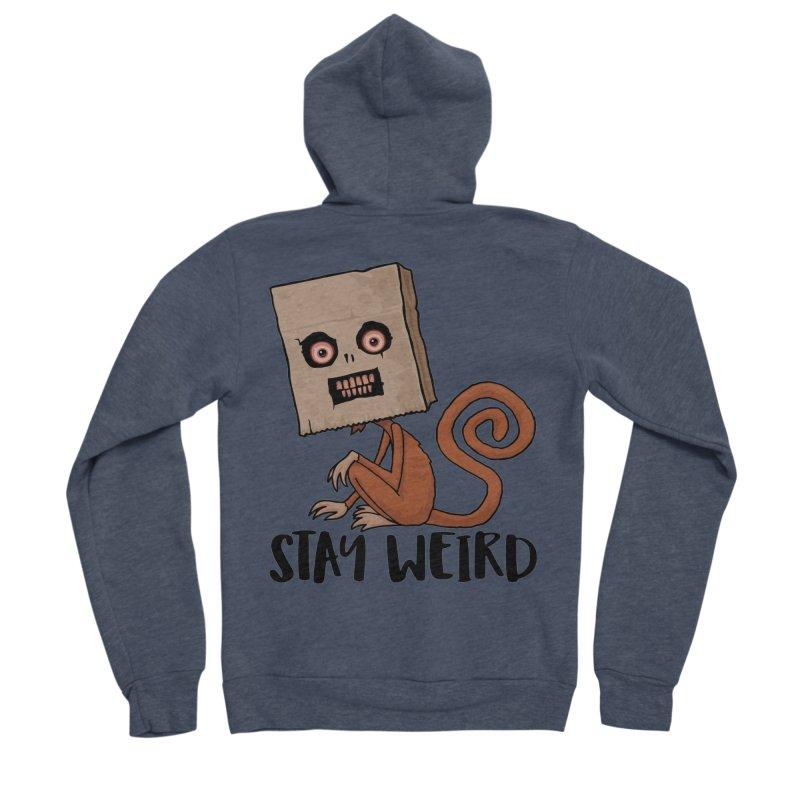Stay Weird Sack Monkey Men's Sponge Fleece Zip-Up Hoody by Fizzgig's Artist Shop
