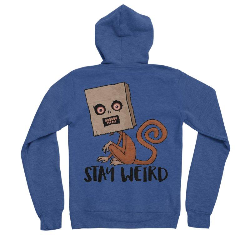 Stay Weird Sack Monkey Women's Sponge Fleece Zip-Up Hoody by Fizzgig's Artist Shop