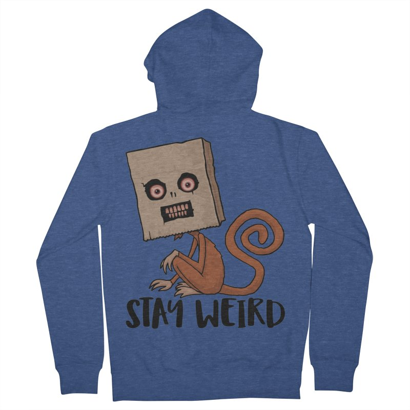 Stay Weird Sack Monkey Men's French Terry Zip-Up Hoody by Fizzgig's Artist Shop