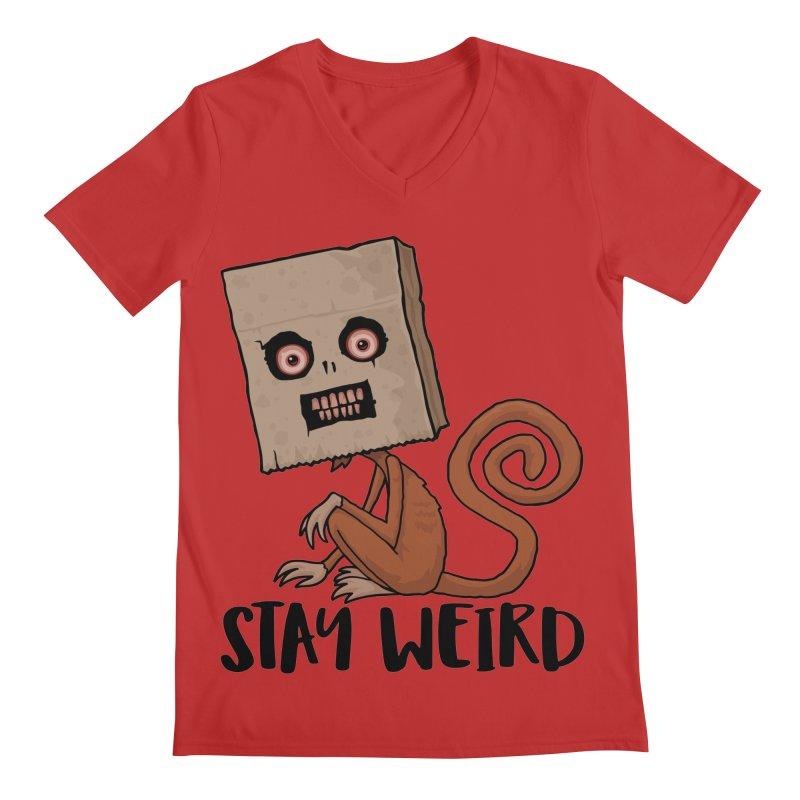 Stay Weird Sack Monkey Men's Regular V-Neck by Fizzgig's Artist Shop