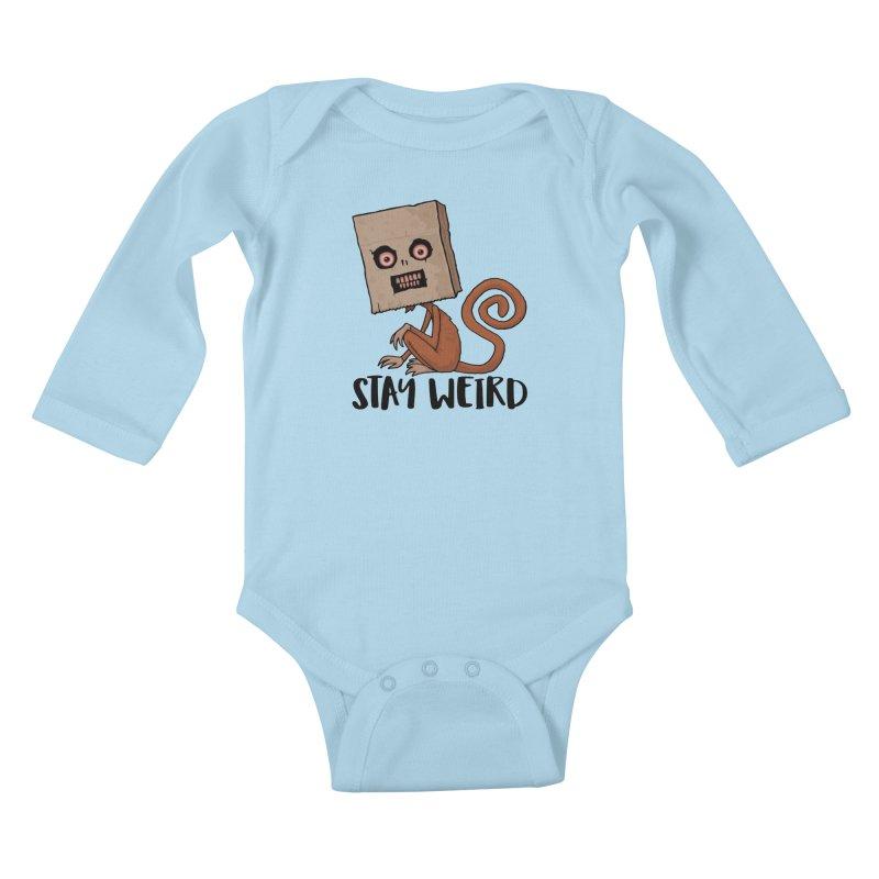 Stay Weird Sack Monkey Kids Baby Longsleeve Bodysuit by Fizzgig's Artist Shop