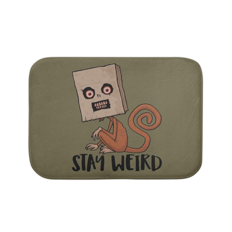 Stay Weird Sack Monkey Home Bath Mat by Fizzgig's Artist Shop
