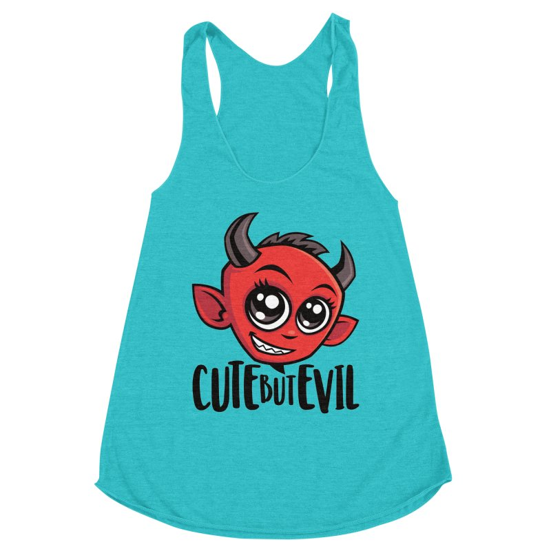 Cute But Evil Women's Racerback Triblend Tank by Fizzgig's Artist Shop