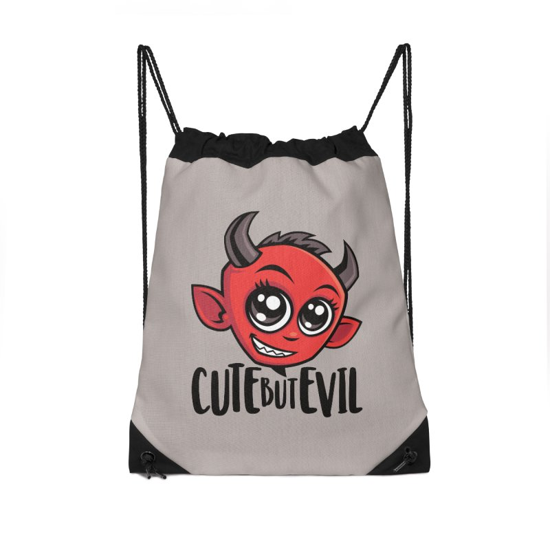 Cute But Evil Accessories Drawstring Bag Bag by Fizzgig's Artist Shop