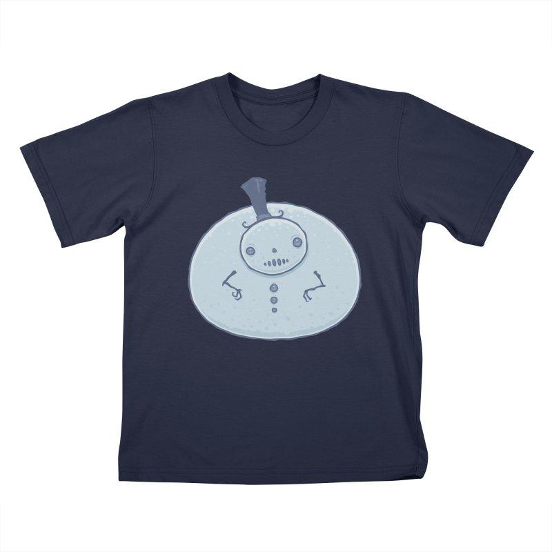 Pudgy Snowman Kids T-Shirt by Fizzgig's Artist Shop