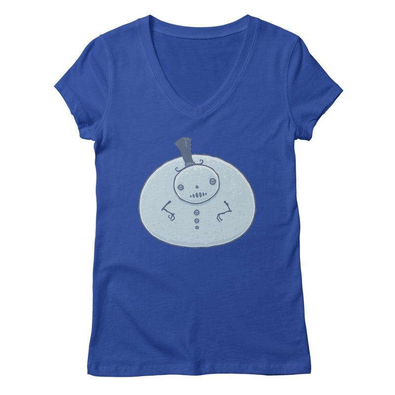 Pudgy Snowman Women's Regular V-Neck by Fizzgig's Artist Shop