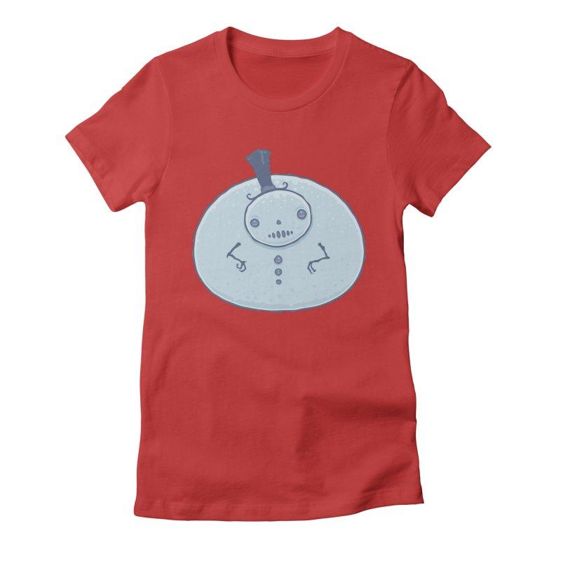 Pudgy Snowman Women's Fitted T-Shirt by Fizzgig's Artist Shop