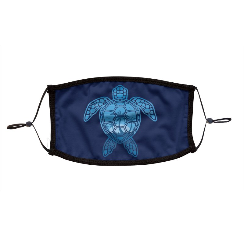 Tropical Island Sea Turtle Design in Blue Accessories Face Mask by Fizzgig's Artist Shop