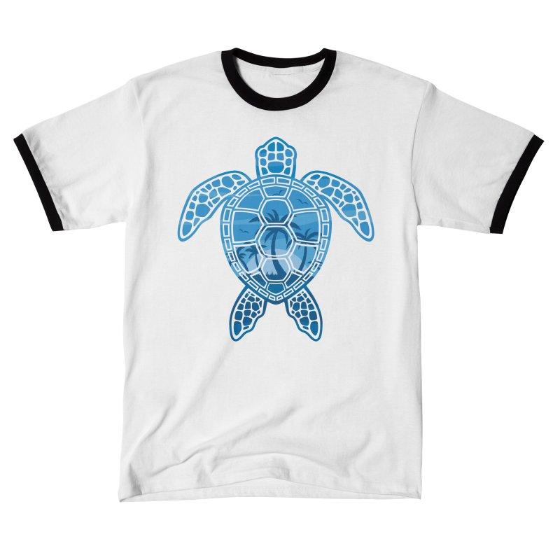 Tropical Island Sea Turtle Design in Blue Women's T-Shirt by Fizzgig's Artist Shop