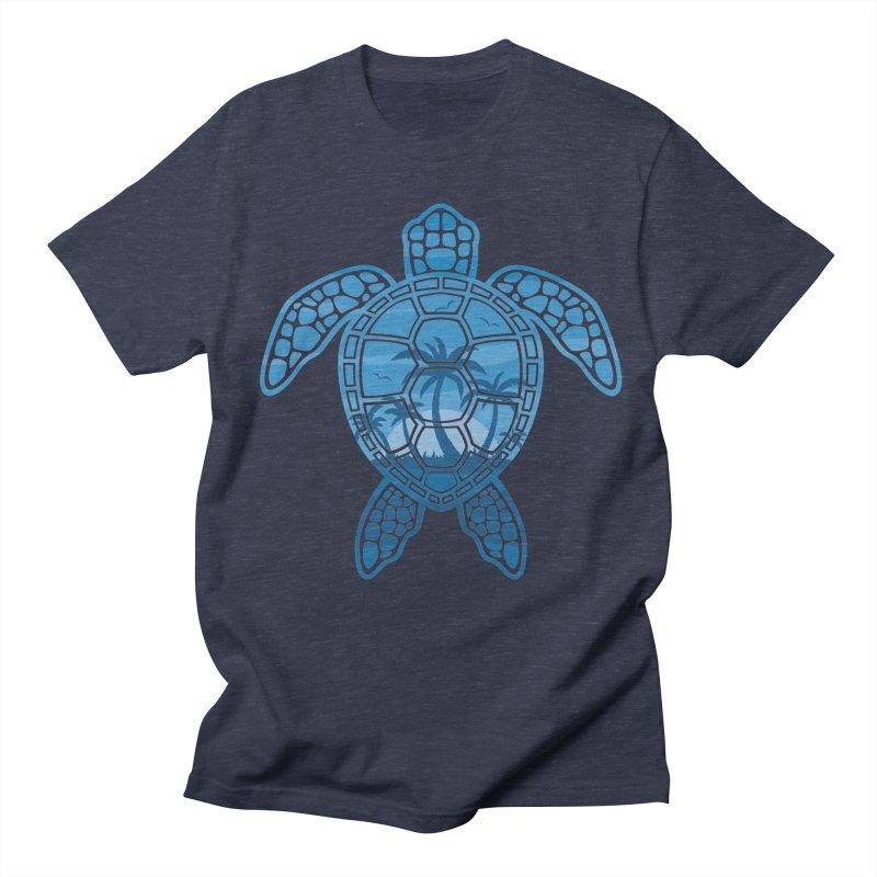 Tropical Island Sea Turtle Design in Blue Men's Regular T-Shirt by Fizzgig's Artist Shop