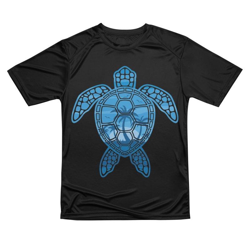 Tropical Island Sea Turtle Design in Blue Men's Performance T-Shirt by Fizzgig's Artist Shop