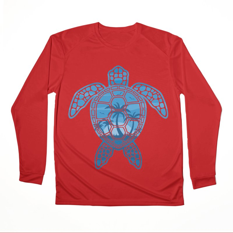 Tropical Island Sea Turtle Design in Blue Women's Performance Unisex Longsleeve T-Shirt by Fizzgig's Artist Shop