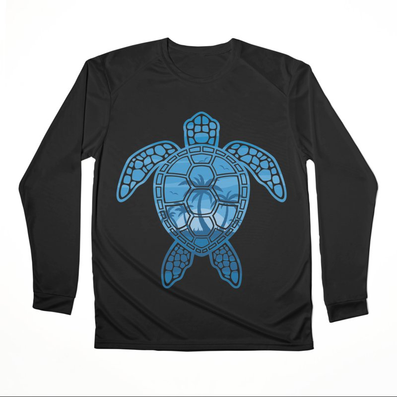 Tropical Island Sea Turtle Design in Blue Women's Longsleeve T-Shirt by Fizzgig's Artist Shop
