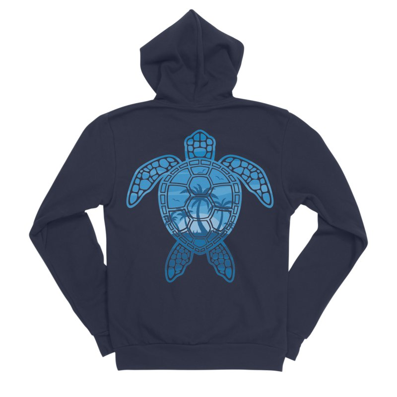Tropical Island Sea Turtle Design in Blue Men's Sponge Fleece Zip-Up Hoody by Fizzgig's Artist Shop