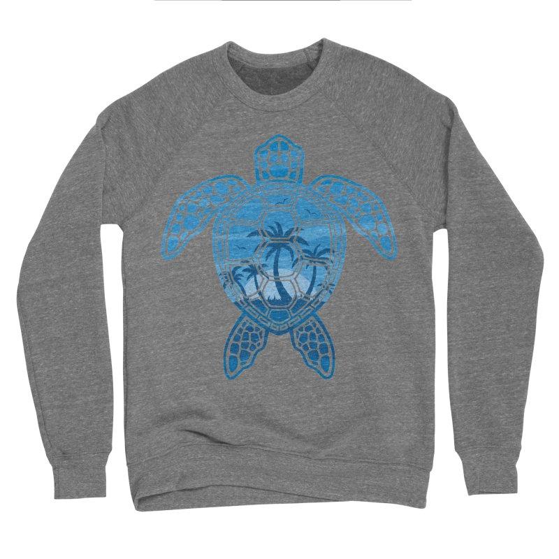 Tropical Island Sea Turtle Design in Blue Women's Sponge Fleece Sweatshirt by Fizzgig's Artist Shop