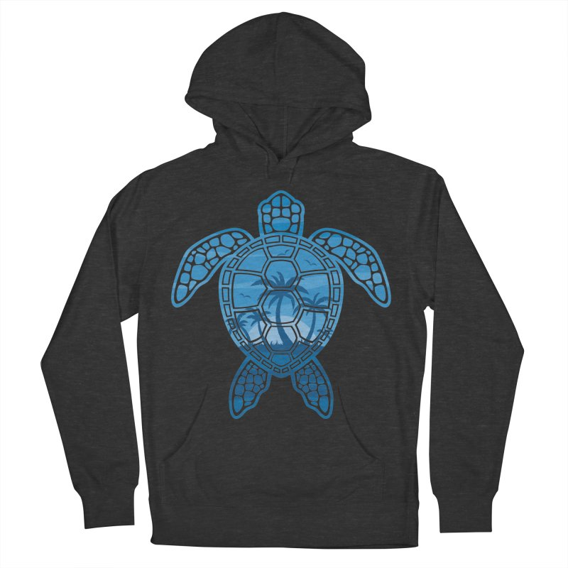 Tropical Island Sea Turtle Design in Blue Women's French Terry Pullover Hoody by Fizzgig's Artist Shop