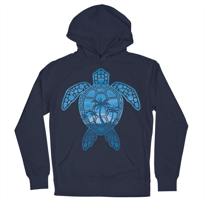 Tropical Island Sea Turtle Design in Blue Men's French Terry Pullover Hoody by Fizzgig's Artist Shop