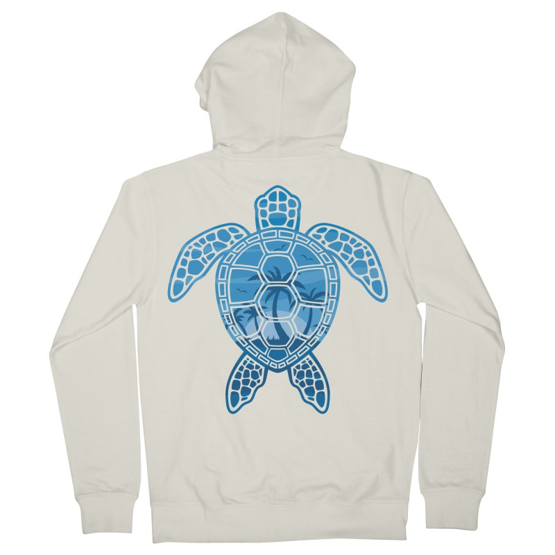 Tropical Island Sea Turtle Design in Blue Men's French Terry Zip-Up Hoody by Fizzgig's Artist Shop