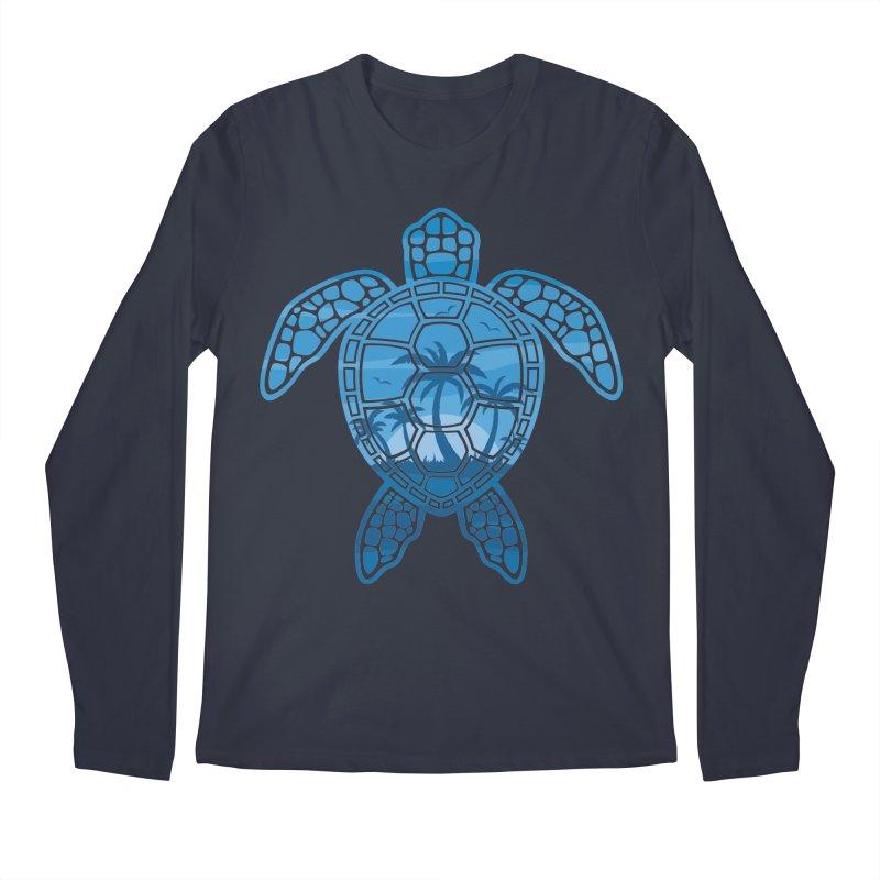 Tropical Island Sea Turtle Design in Blue Men's Regular Longsleeve T-Shirt by Fizzgig's Artist Shop