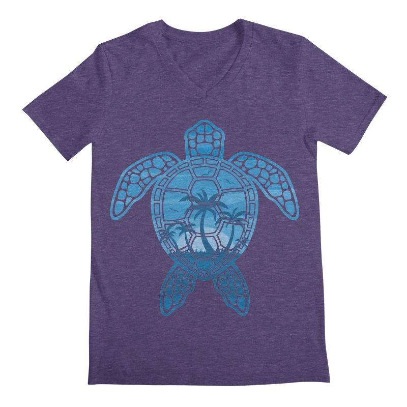 Tropical Island Sea Turtle Design in Blue Men's Regular V-Neck by Fizzgig's Artist Shop