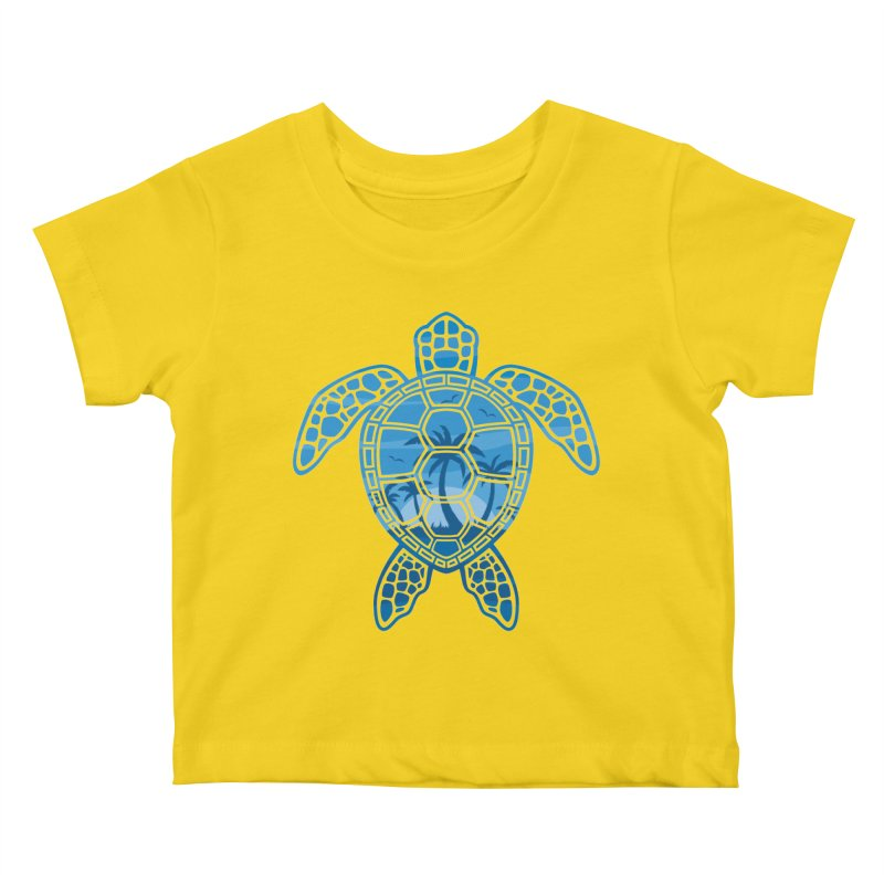 Tropical Island Sea Turtle Design in Blue Kids Baby T-Shirt by Fizzgig's Artist Shop